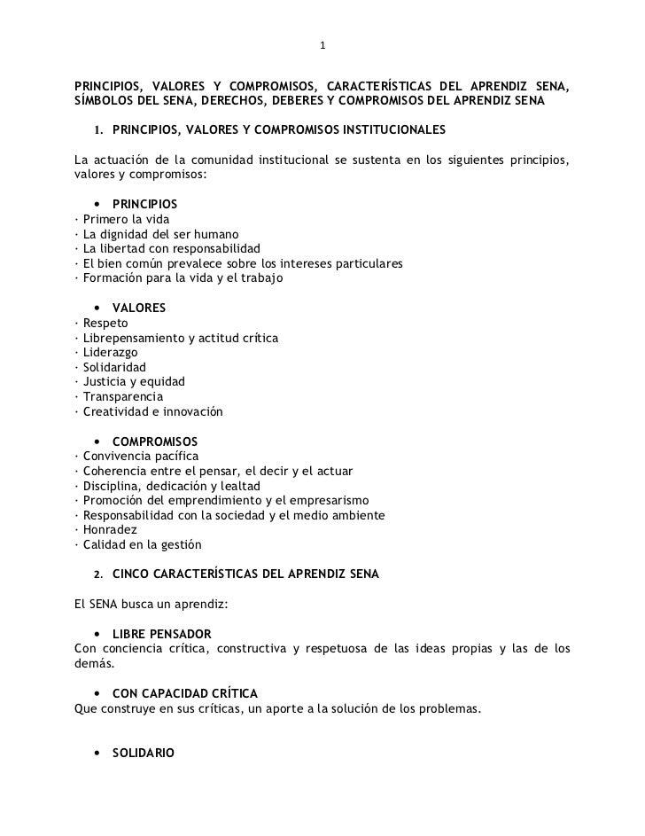Principio y valores corporativos, caracteristicas del aprendiz sena, reglamento