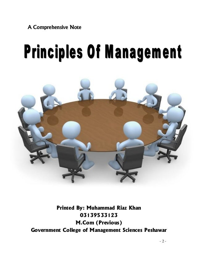Principles Of Management By M.RiaZ Khan 03139533123