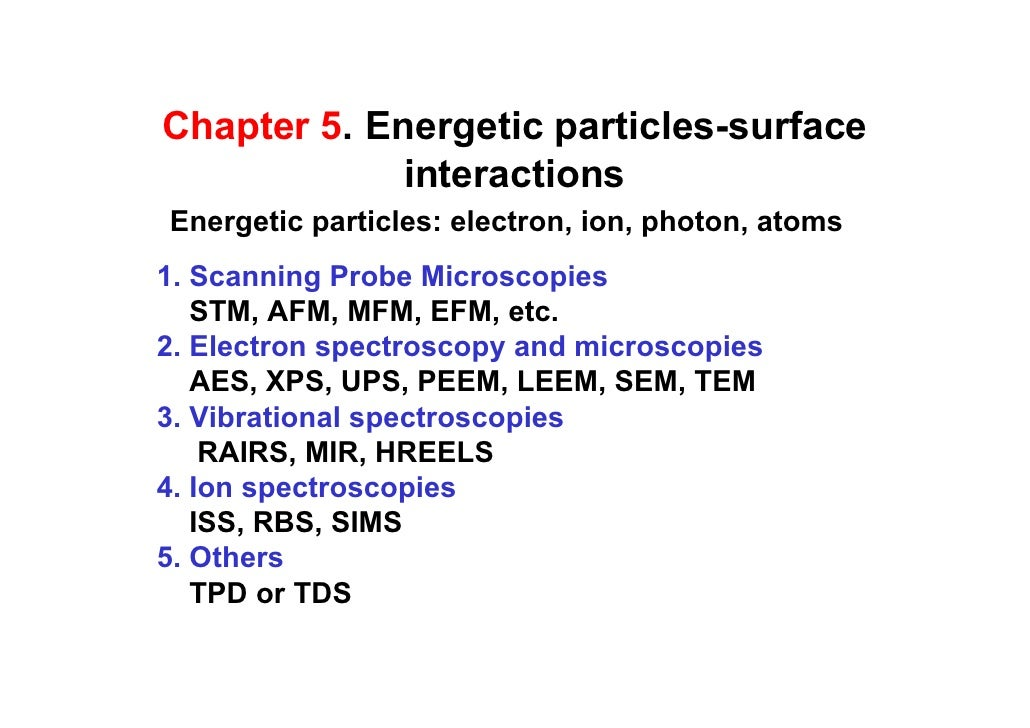 Chapter 5. Energetic particles-surface              interactions Energetic particles: electron, ion, photon, atoms 1. Scan...