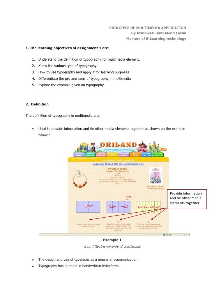 PRINCIPLE OF MULTIMEDIA APPLICATION <br />By Azmawati Binti Mohd Lazim<br />Masters of E-Learning technology<br />1. The l...