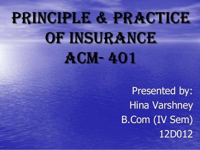 Principle & Practice of Insurance ACM- 401 Presented by: Hina Varshney B.Com (IV Sem) 12D012