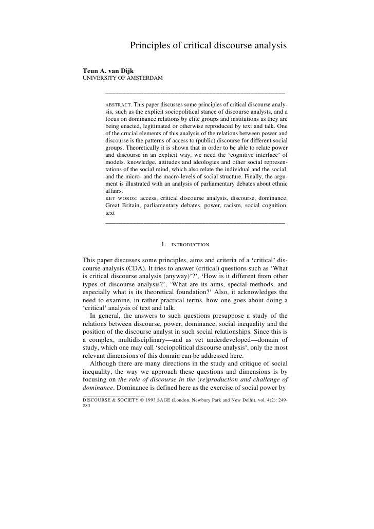 Principles Of Critical Discourse Analysis