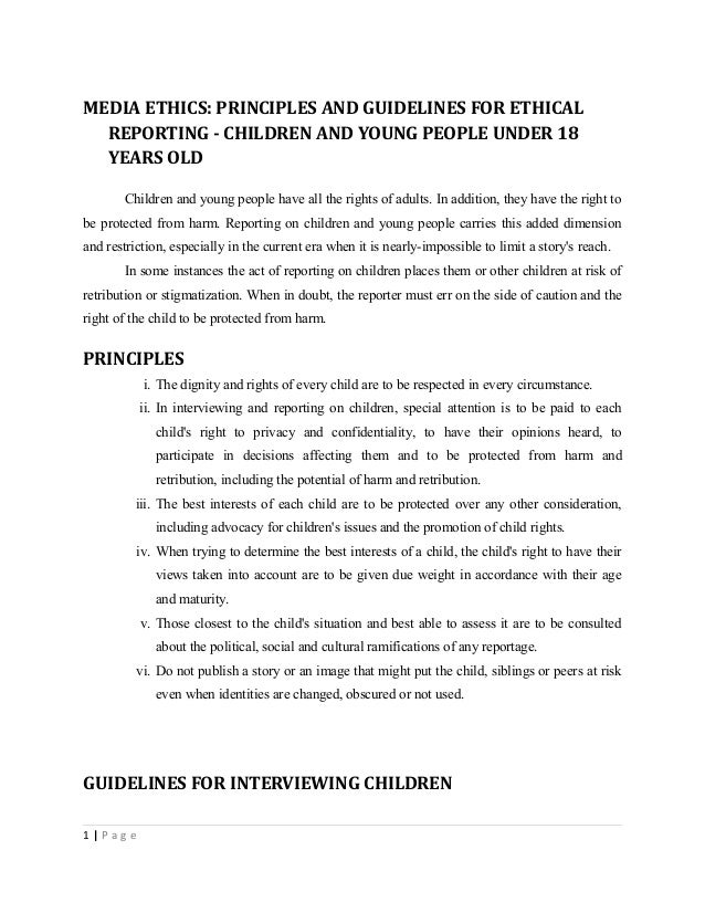 ethical reporting practice for children in Professional ethical principles and practice standards reinforce respect in advocating on behalf of children with ethics and practices and guidelines to.