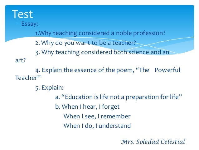Essay on teaching is the noble profession