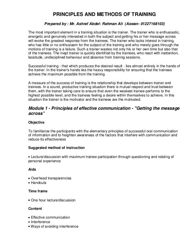 PRINCIPLES AND METHODS OF TRAINING          Prepared by : Mr. Ashraf Abdel- Rahman Ali (Aswan- 01227168103)The most import...