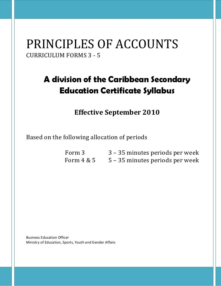Principles of accounts couse outline