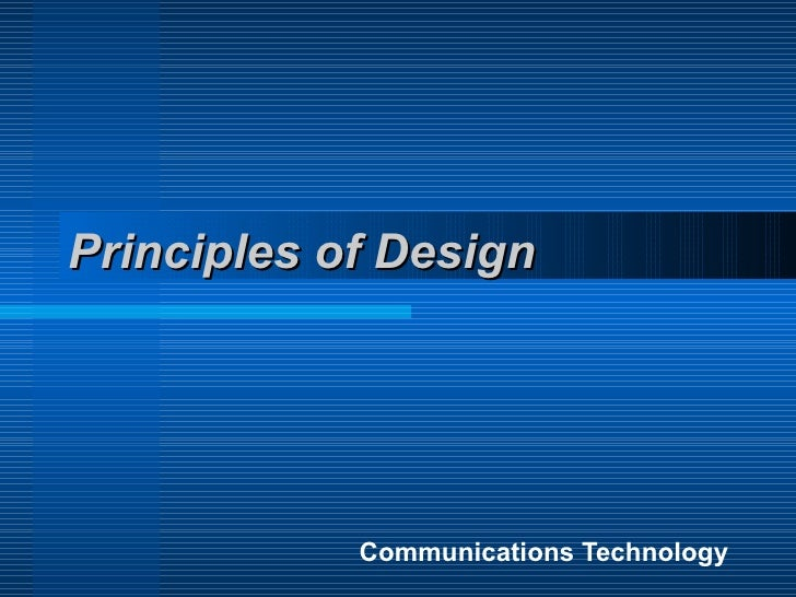 Principles of Design Communications Technology