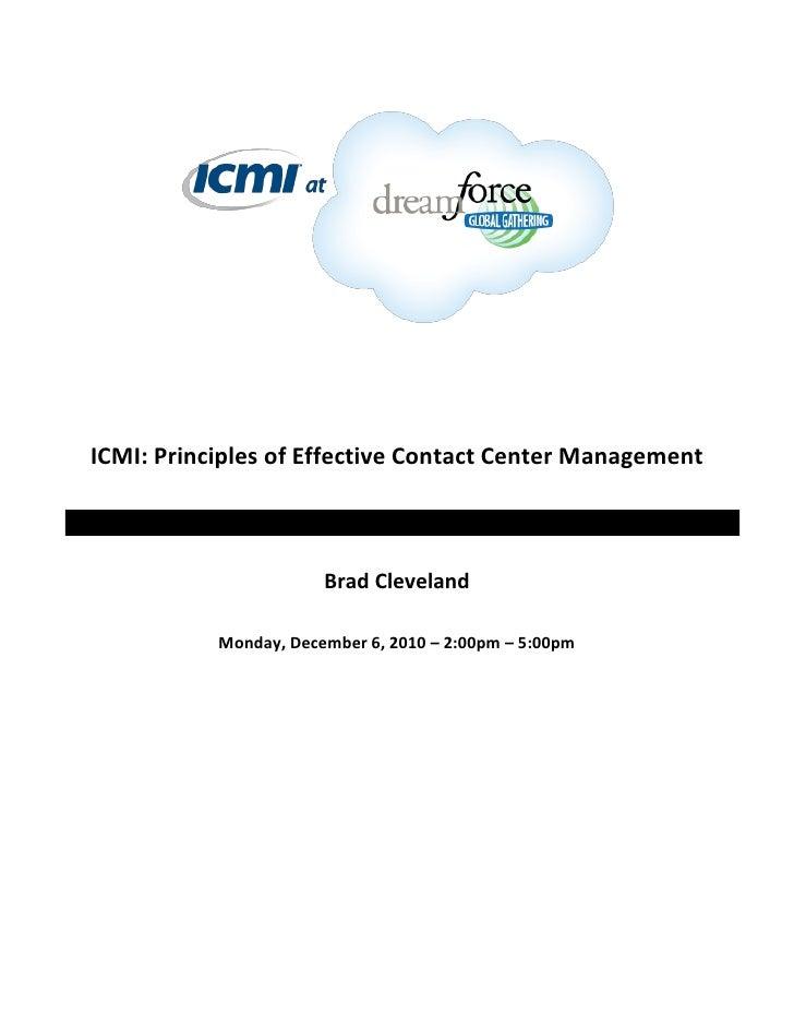 Principles of Effective Contact Center Management Workbook - ICMI @ Dreamforce 2010 Handout - Brad Cleveland