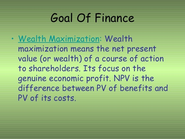 differences between goals of profit maximization and maximization of shareholder wealth What is wealth maximization the result is likely to be a modest reduction in shareholder wealth what are the basic differences between profit maximization.