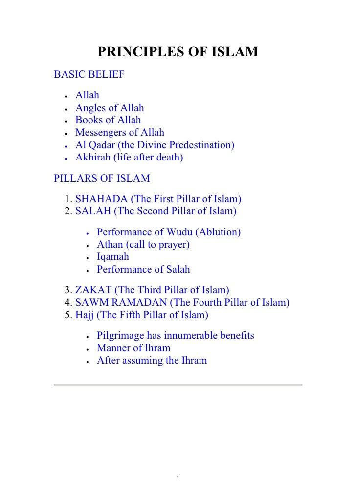 PRINCIPLES OF ISLAM BASIC BELIEF  •   Allah  •   Angles of Allah  •   Books of Allah  •   Messengers of Allah  •   Al Qada...