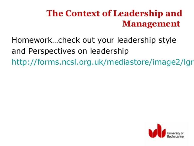 The Context of Leadership and Management Homework…check out your leadership style and Perspectives on leadership http://fo...