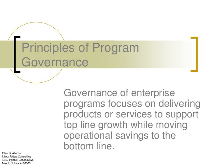 Principles of Program              Governance                          Governance of enterprise                          p...