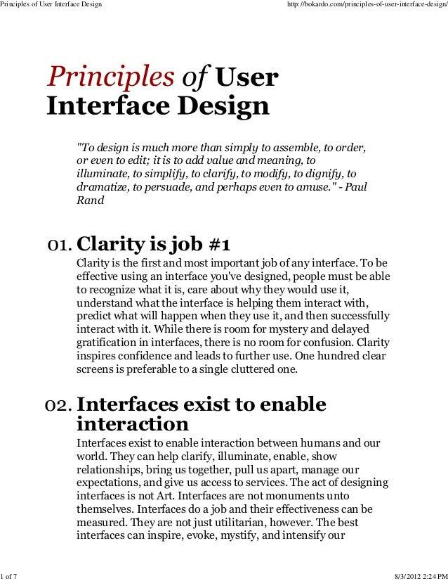 Principles of user interface design