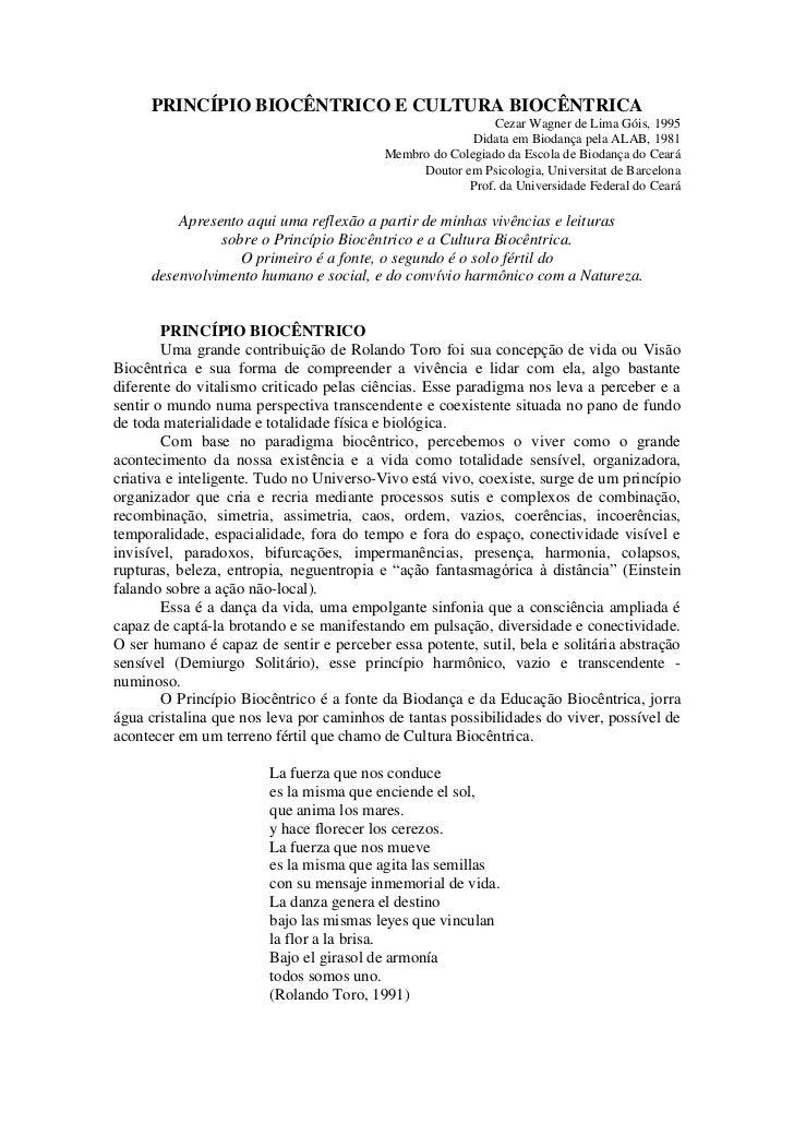 PRINCÍPIO BIOCÊNTRICO E CULTURA BIOCÊNTRICA                                                            Cezar Wagner de Lim...