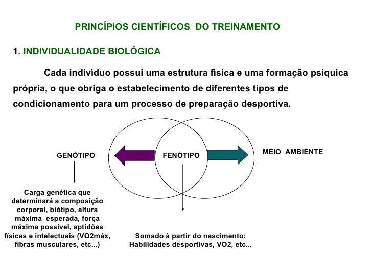 PRINCÍPIOS CIENTÍFICOS  DO TREINAMENTO 1 . INDIVIDUALIDADE BIOLÓGICA Cada indivíduo possui uma estrutura física e uma form...