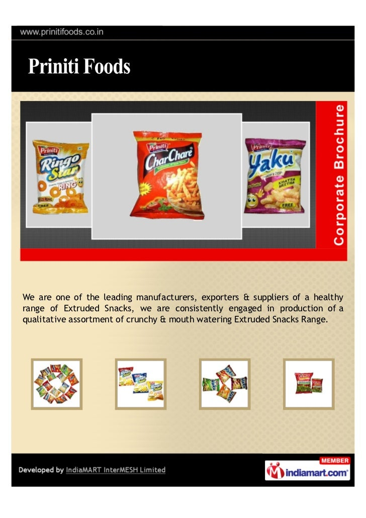 We are one of the leading manufacturers, exporters & suppliers of a healthyrange of Extruded Snacks, we are consistently e...