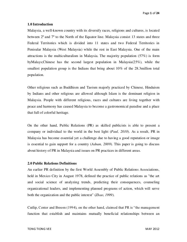 Page 1 of 241.0 IntroductionMalaysia, a well-known country with its diversify races, religions and cultures, is locatedbet...