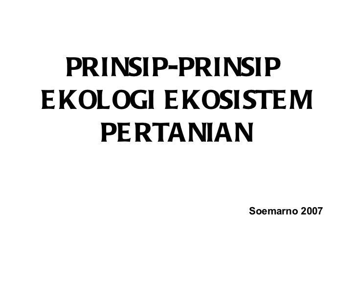 Prinsip ekosistem ekologi pertanian
