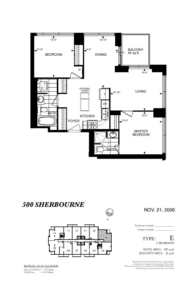 TYPE: E SUITE AREA: 837 sq.ft 2 BEDROOM BALCONY AREA: 45 sq.ft NOV. 21, 2006 DINING BATH DW R KITCHEN BATH MASTER BEDROOM ...