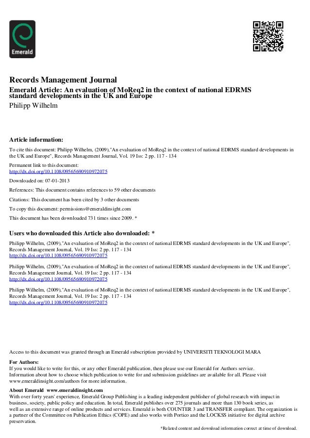 Records Management JournalEmerald Article: An evaluation of MoReq2 in the context of national EDRMSstandard developments i...