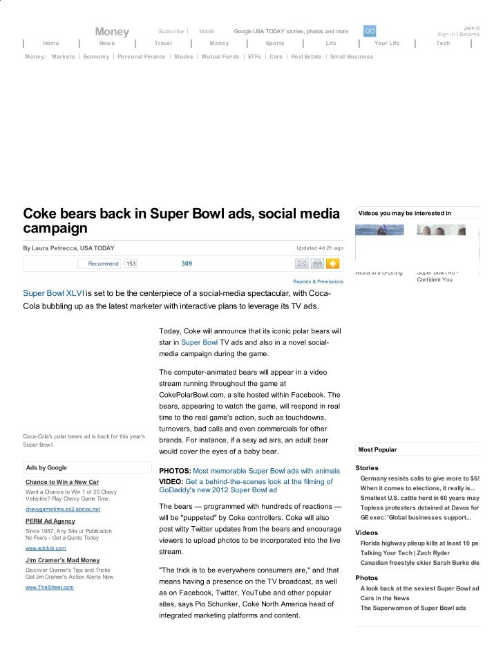 Print   coke bears back in super bowl ads, social media campaign – usatoday