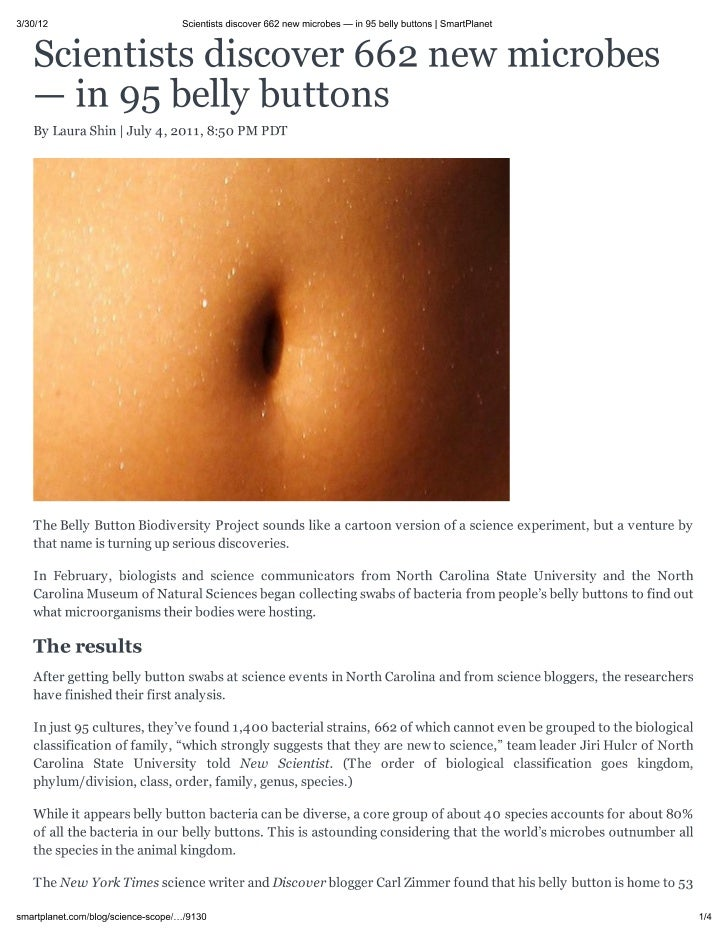 Scientists discover 662 new microbes — in 95 belly buttons  @ smart-planet.com