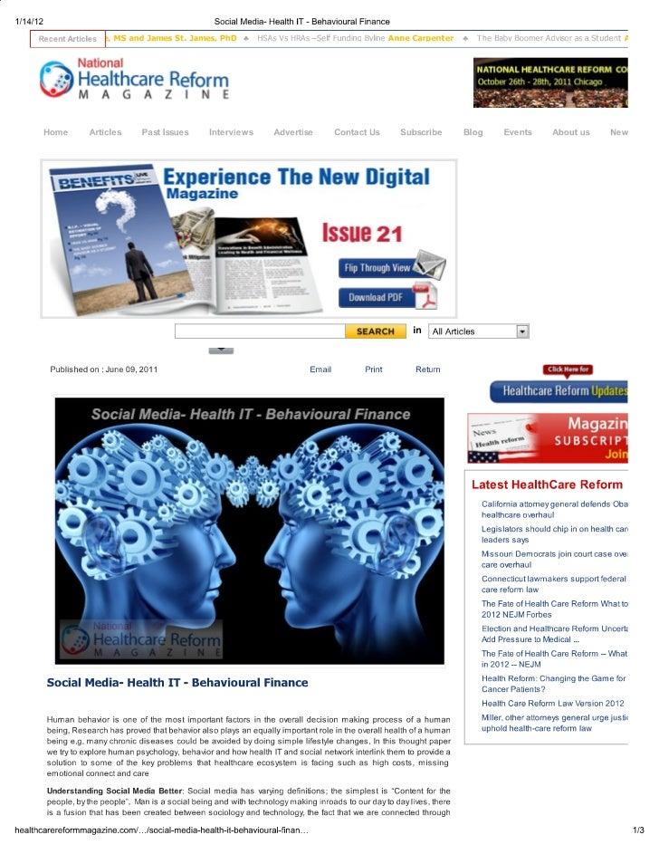 Print   social media- health it - behavioural finance