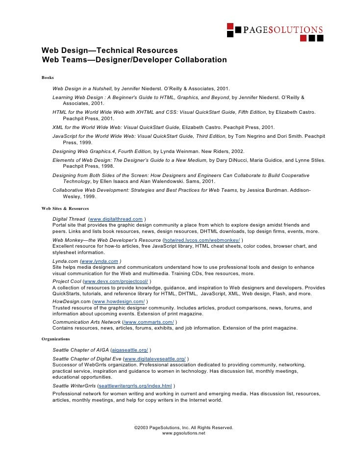 Web Design—Technical Resources Web Teams—Designer/Developer Collaboration  Books       Web Design in a Nutshell, by Jennif...
