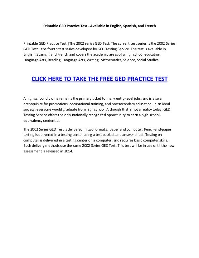 Ged Print Out Worksheets : Printable ged practice test