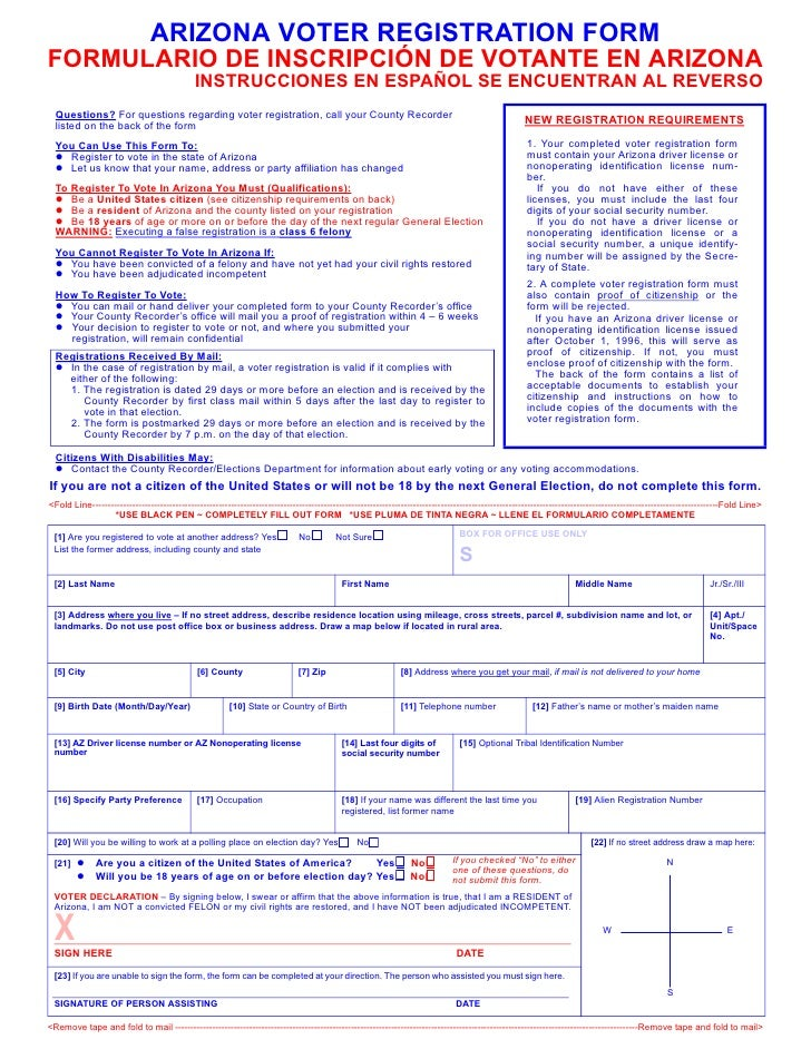 ARIZONA VOTER REGISTRATION FORM FORMULARIO DE INSCRIPCIÓN DE VOTANTE EN ARIZONA                                           ...
