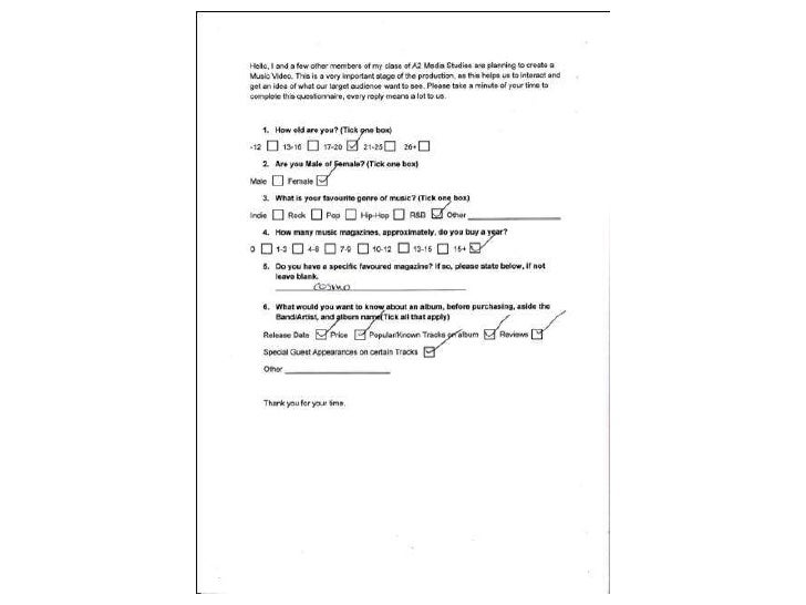Print article questionnaire's evidence