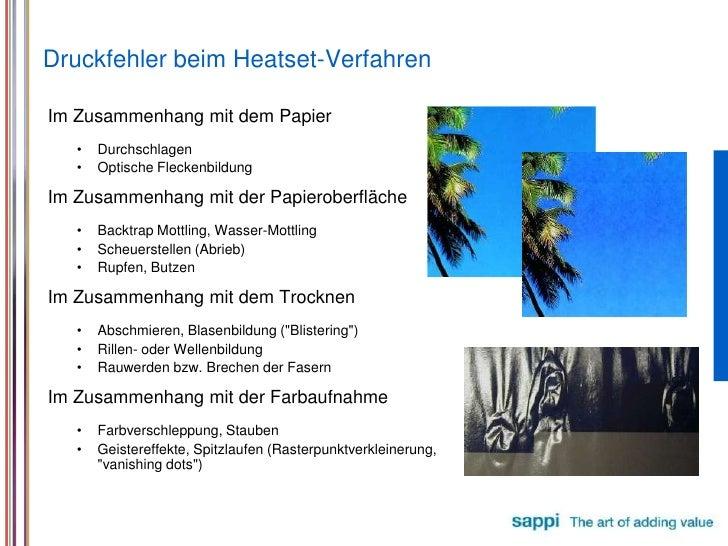 Druckfehler beim Heatset-Verfahren<br />ImZusammenhangmitdemPapier<br />Durchschlagen<br />OptischeFleckenbildung<br />ImZ...