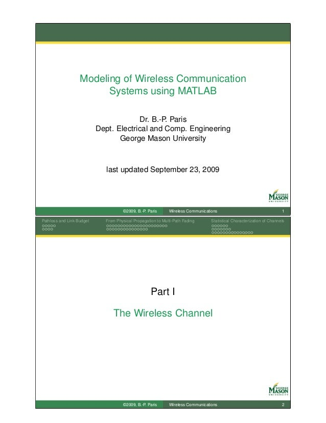 Modeling of Wireless Communication                         Systems using MATLAB                                        Dr....