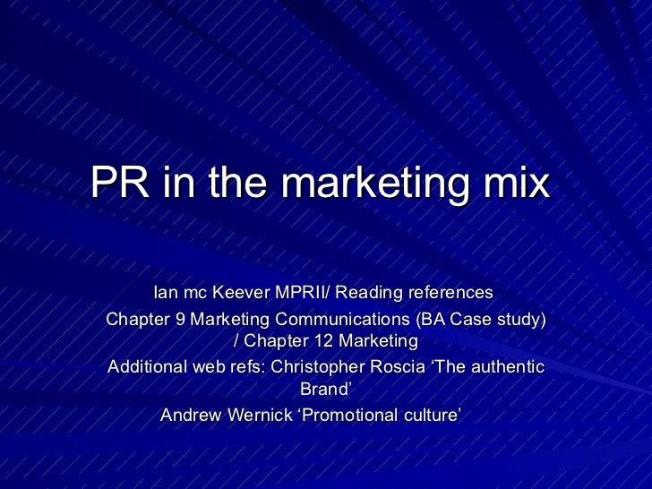 Pr in the marketing mix