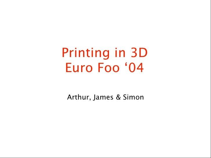 Printing in 3D