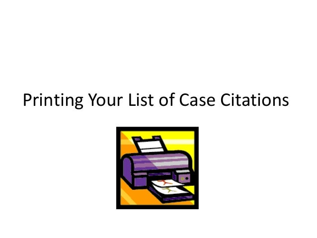 Printing Your List of Case Citations