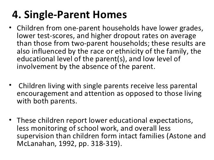 effects of a single parent family Children of single-parent families suffer measurable harm and school failure, while others denied that single motherhood had any harmful effects.