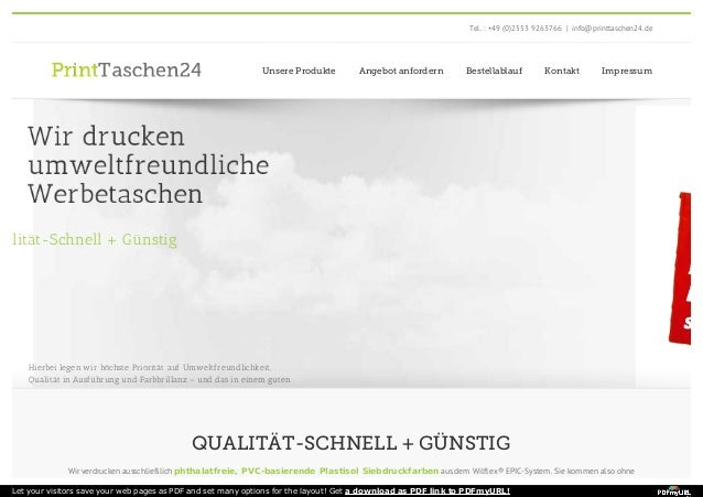 Tel. : +49 (0)2553 9263766 | info@printtaschen24.de  Unsere Produkte Angebot anfordern Bestellablauf Kontakt Impressum  Hi...