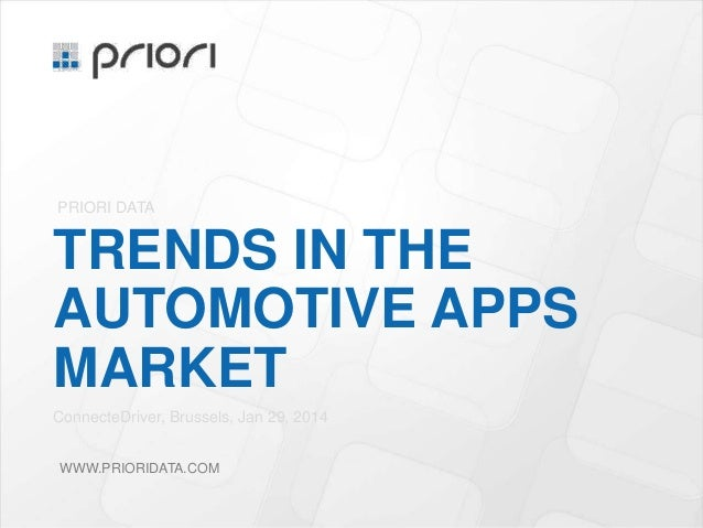 PRIORI DATA  TRENDS IN THE AUTOMOTIVE APPS MARKET ConnecteDriver, Brussels, Jan 29, 2014 WWW.PRIORIDATA.COM