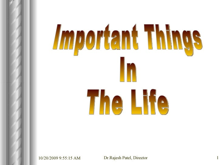 Important Things  In The Life