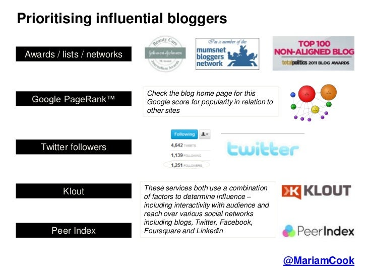 Prioritising influential bloggers Awards / lists / networks                             Check the blog home page for this ...