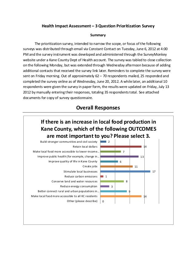 Health Impact Assessment – 3 Question Prioritization Survey                                                   Summary     ...