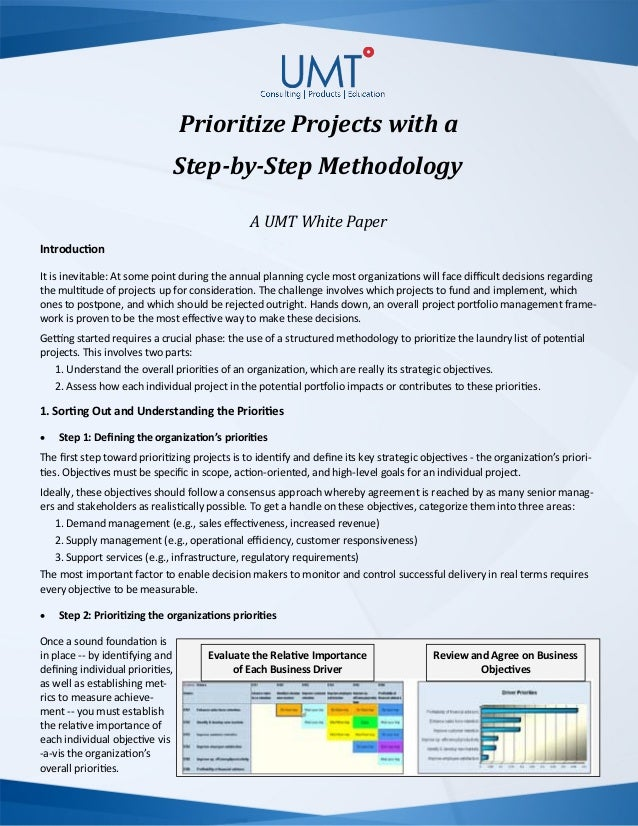 Prioritize Projects with a Step-by-Step Methodology