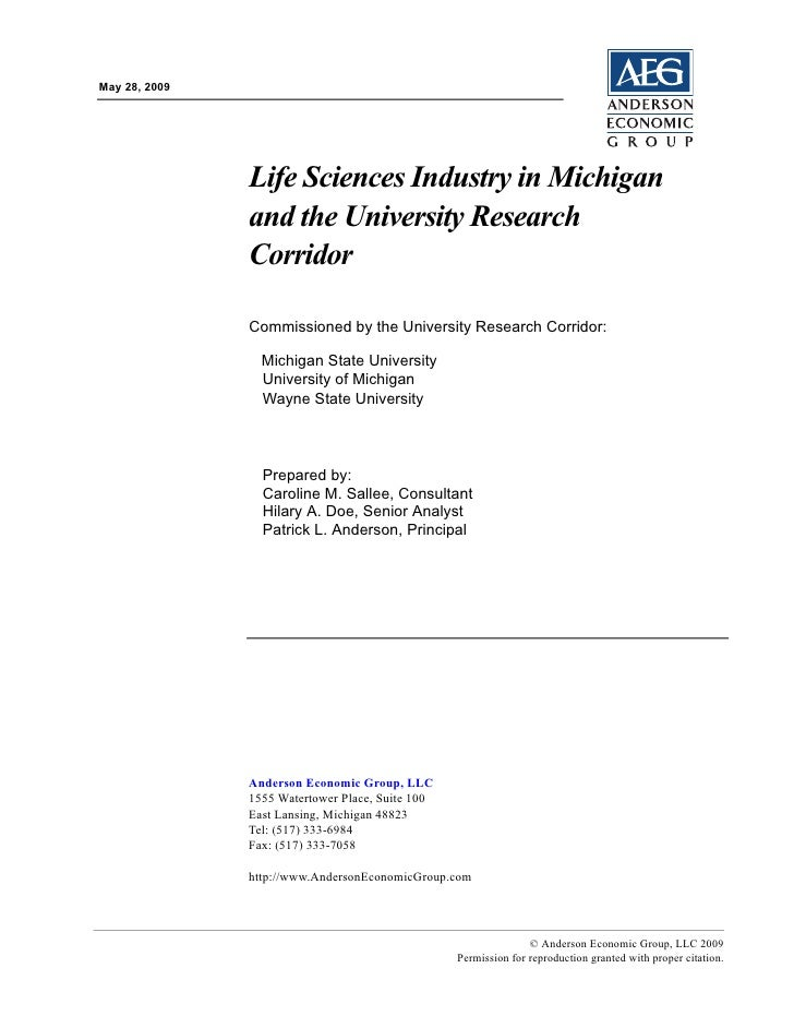 May 28, 2009                    Life Sciences Industry in Michigan                and the University Research             ...