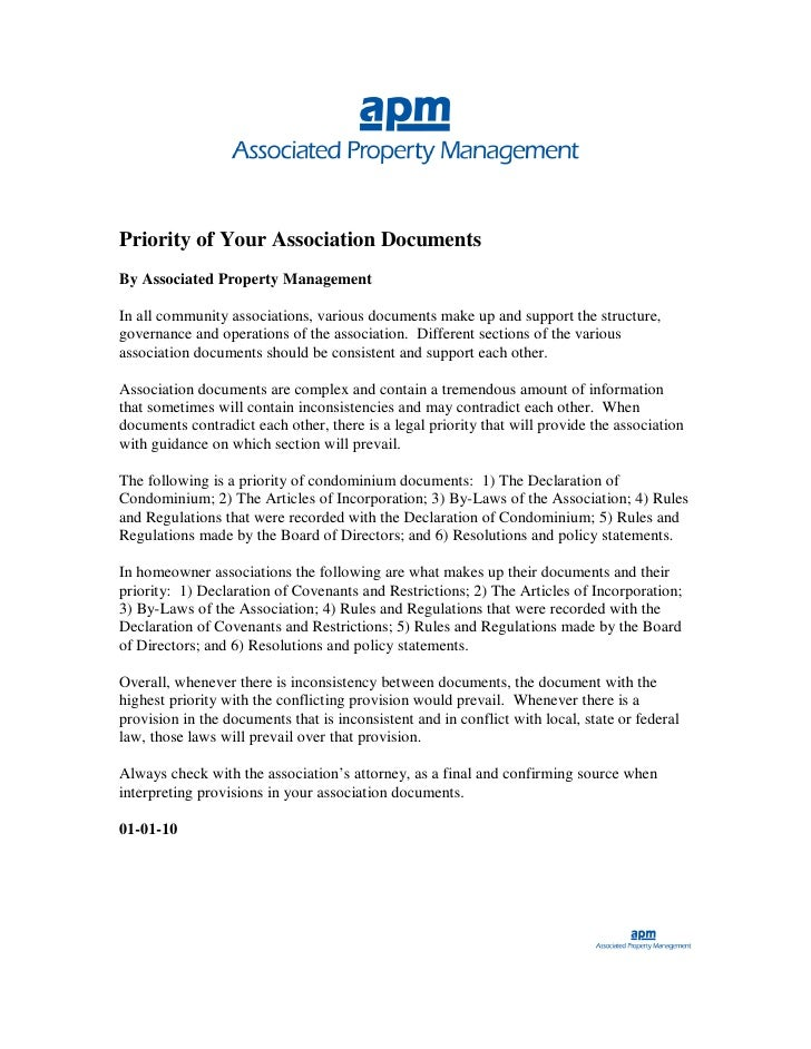 Priority of Your Association Documents By Associated Property Management  In all community associations, various documents...