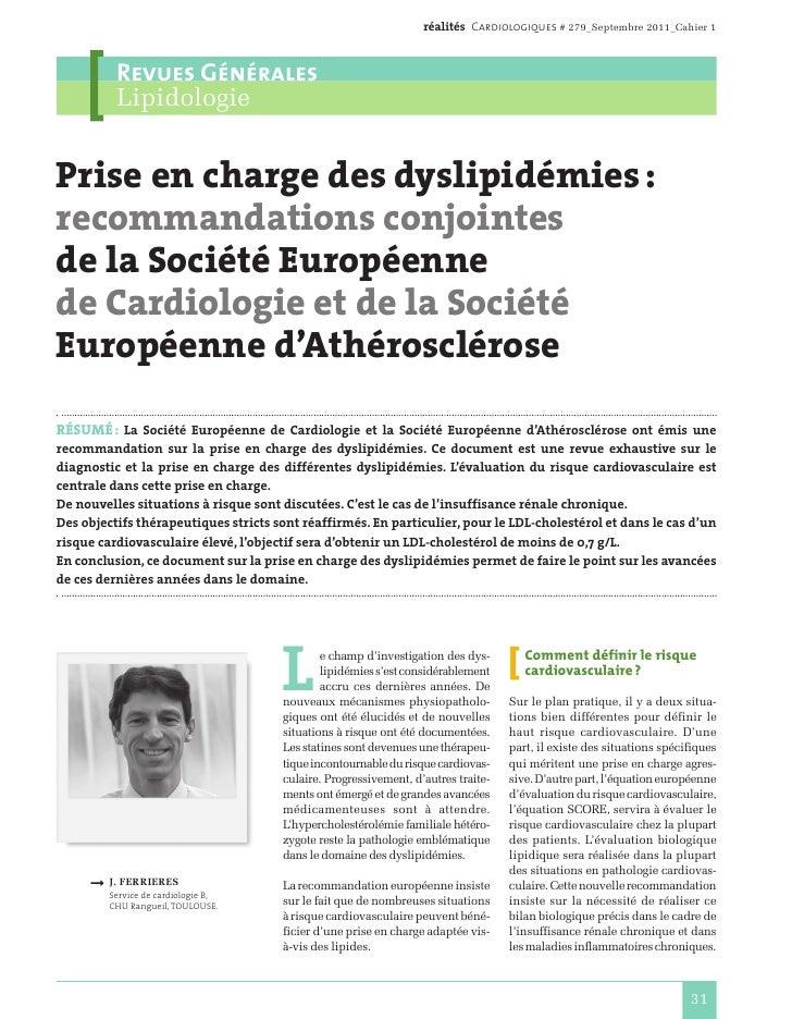 réalités Cardiologiques # 279_Septembre 2011_Cahier 1          Revues Générales          LipidologiePrise en charge des dy...