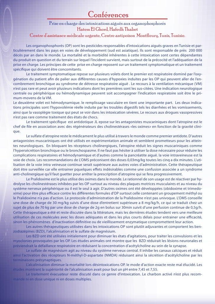 Conférences                    Prise en charge des intoxications aiguës aux organophosphorés                              ...