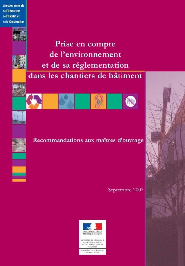 direction générale de l'Urbanisme de l'Habitat et de la Construction MINISTÈRE DE L'ÉCOLOGIE DU DÉVELOPPEMENT ET DE L'AMÉN...