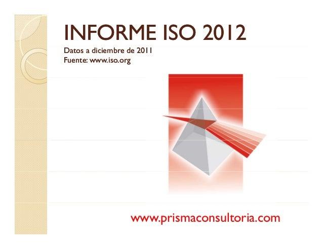 INFORMEINFORME ISO 2012ISO 2012 Datos a diciembre de 2011Datos a diciembre de 2011 Fuente: www.iso.orgFuente: www.iso.org ...