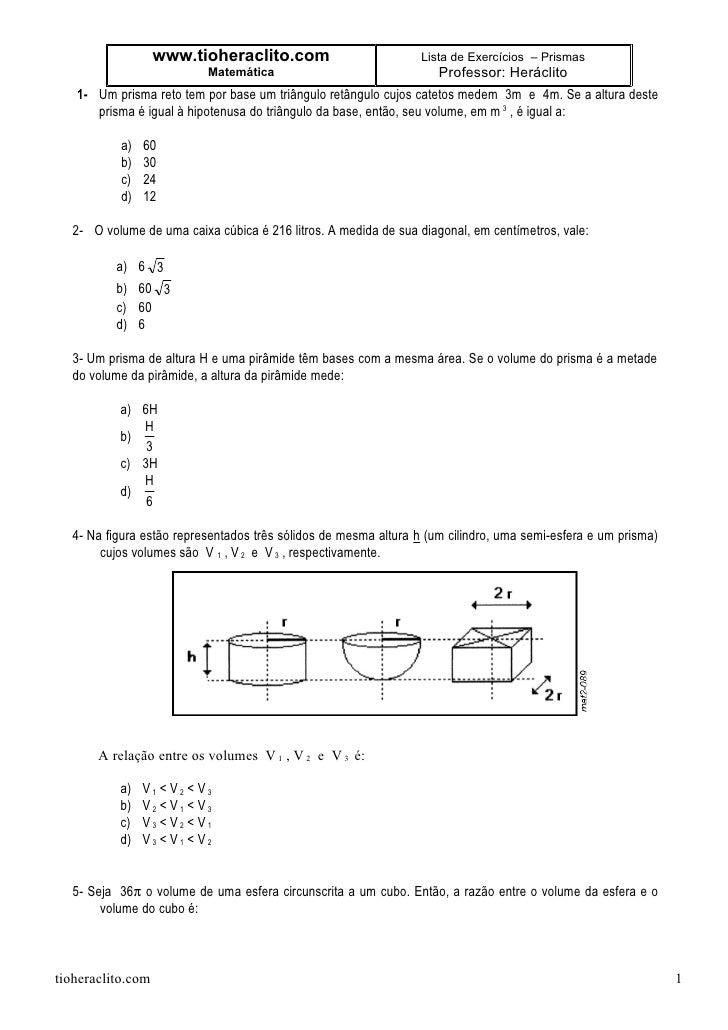 www.tioheraclito.com                          Lista de Exercícios – Prismas                            Matemática         ...